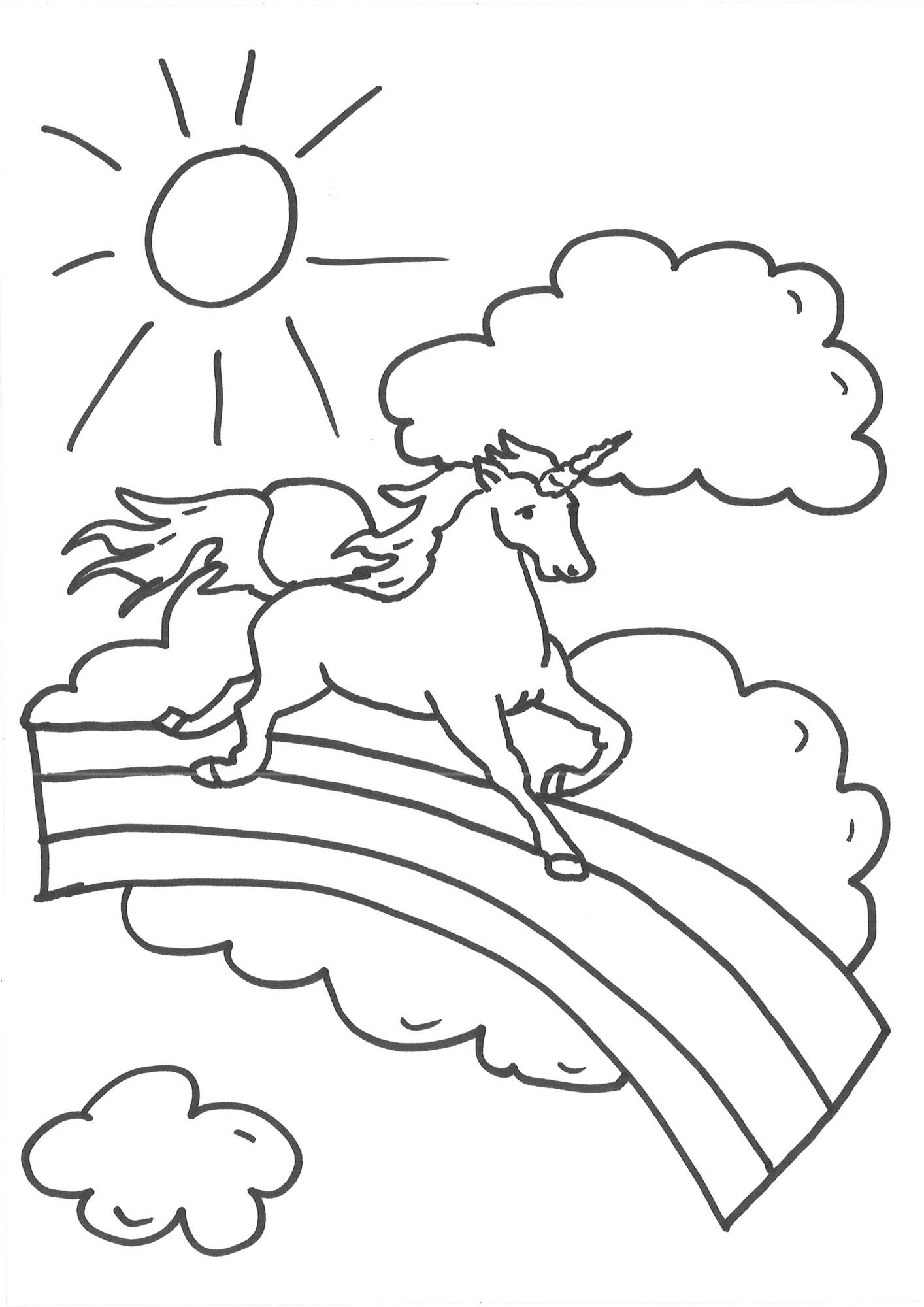 Ausmalbild Einhörner Einhorn auf dem Regenbogen kostenlos