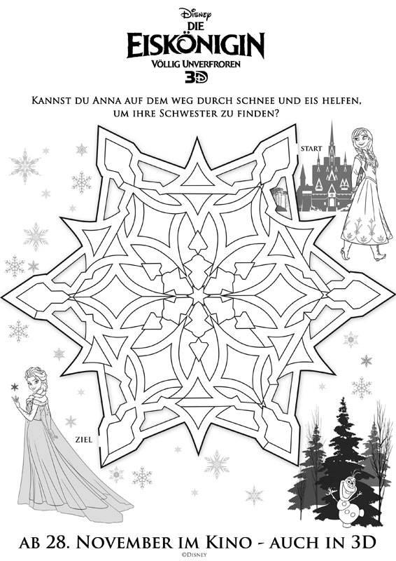 Ausmalbild Labyrinthe für Kinder Die Eiskönigin - Anna