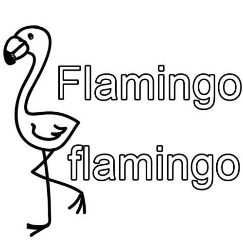 Kostenlose Malvorlage Englisch lernen Flamingo - flamingo