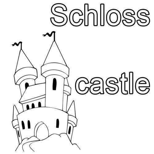 Kostenlose Malvorlage Englisch lernen Schloss - castle