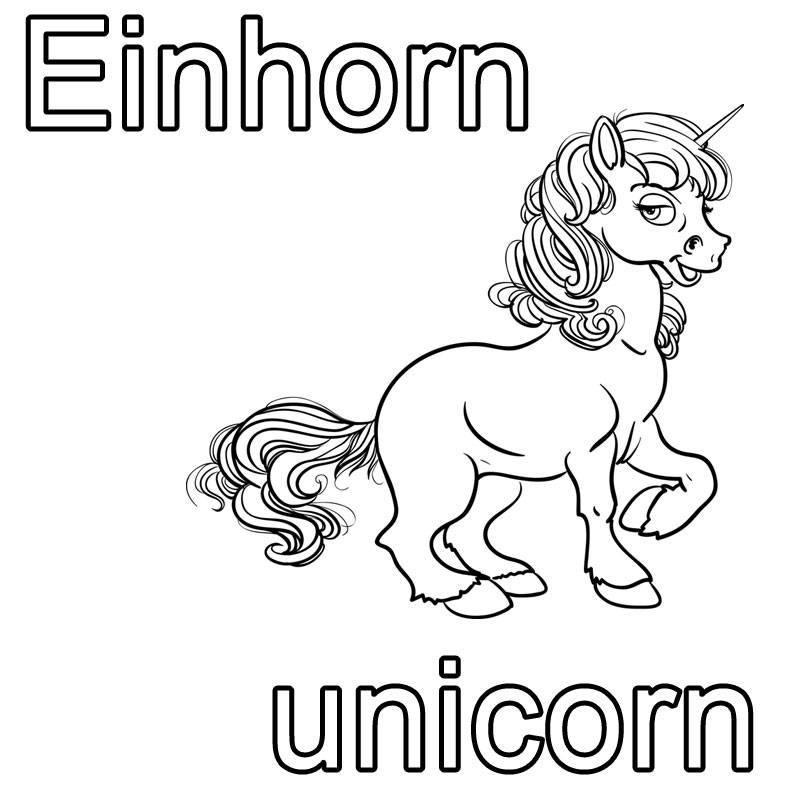 Kostenlose Malvorlage Englisch lernen Einhorn - unicorn