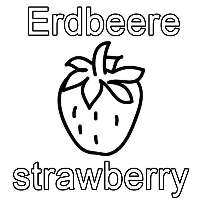 Kostenlose Malvorlage Englisch lernen Erdbeere