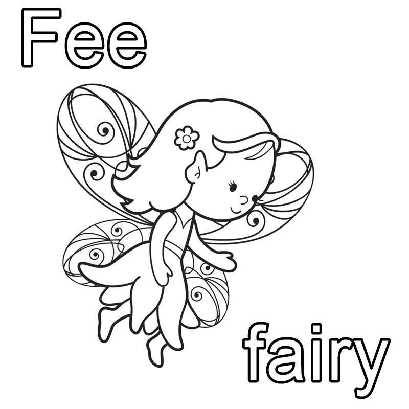 Kostenlose Malvorlage Englisch lernen Fee - fairy zum