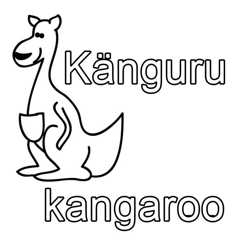 Ausmalbild Englisch lernen Känguru - kangaroo kostenlos
