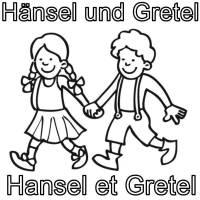 Ausmalbild Französisch lernen Hänsel und Gretel   Hansel ...