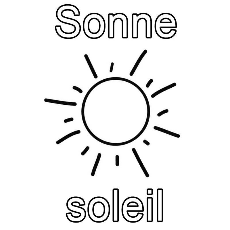 Kostenlose Malvorlage Französisch lernen Sonne - soleil