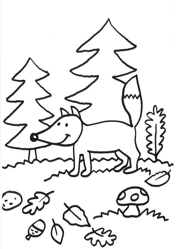 Kostenlose Malvorlage Füchse Fuchs im Herbst zum Ausmalen