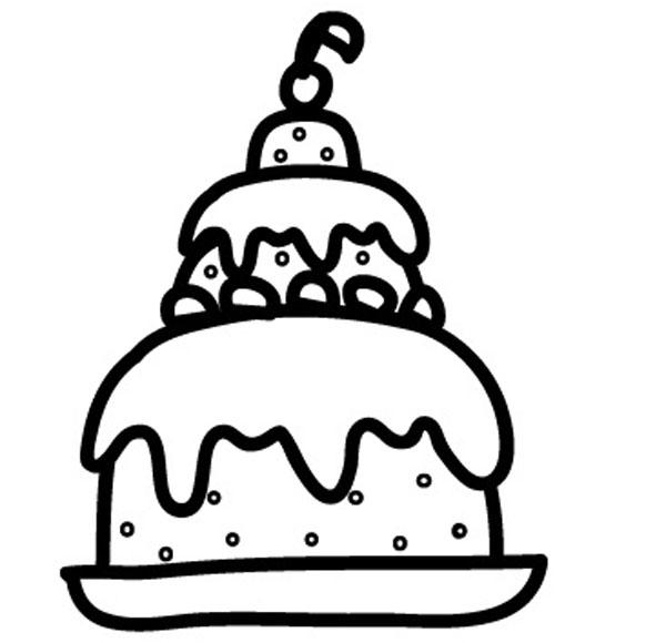 Kostenlose Malvorlage Geburtstag Torte zum Ausmalen zum