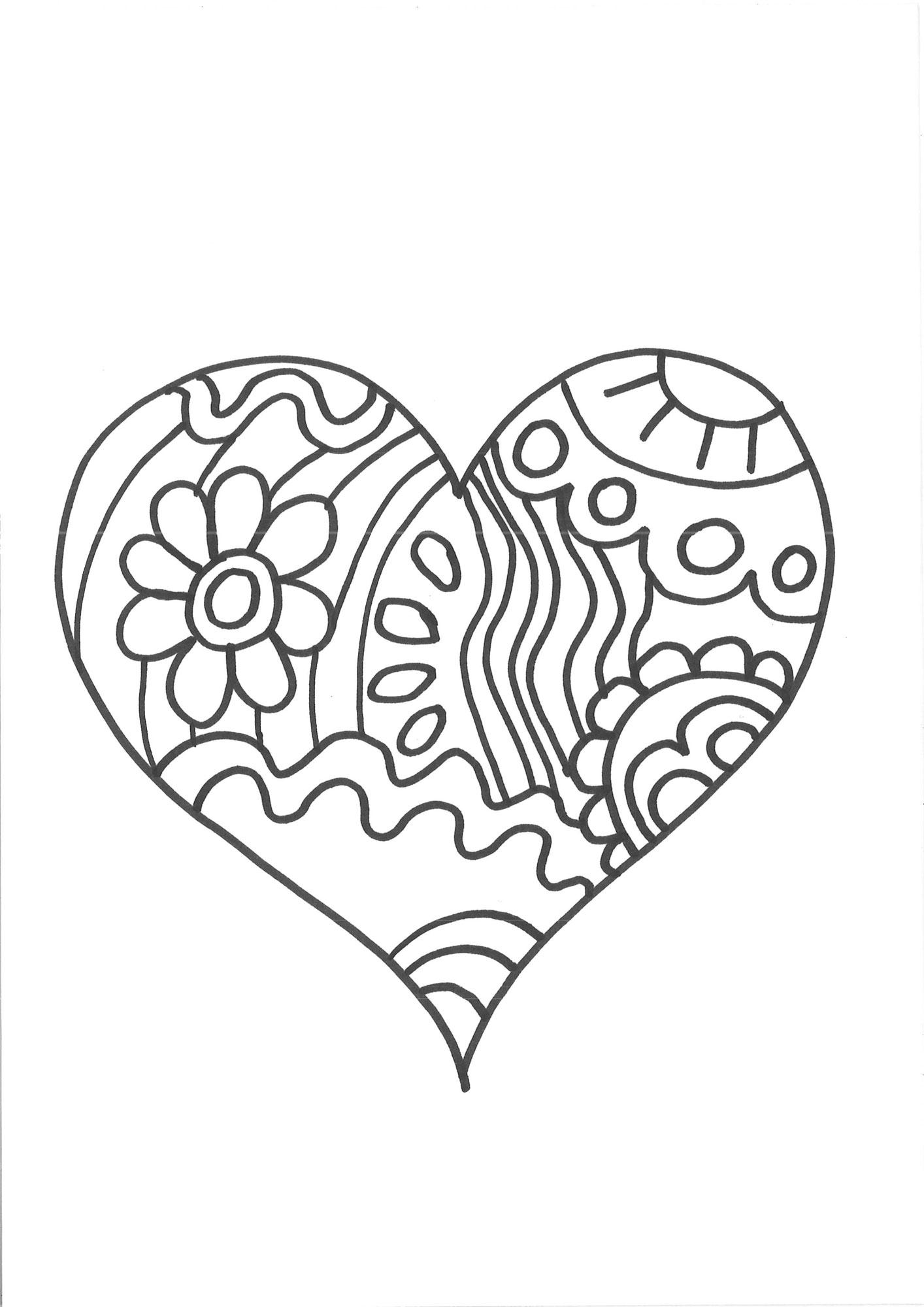 Kostenlose Malvorlage Herzen Herz zum Ausmalen zum Ausmalen