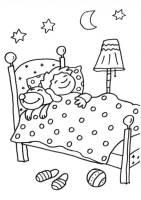 Kostenlose Malvorlage Hunde Hund schläft bei Jungen im ...