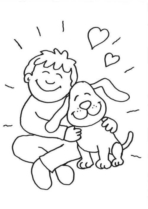 Kostenlose Malvorlage Hunde Junge Und Hund Kuscheln Zum