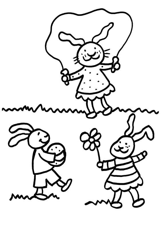 Kostenlose Malvorlage Kaninchen Kaninchen-Kinder zum Ausmalen