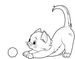 Kostenlose Malvorlage Katzen Katze mit Wollknäuel zum ...