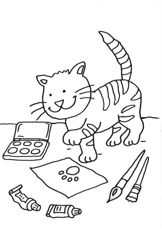 Kostenlose Malvorlage Katzen Katze auf dem Schreibtisch