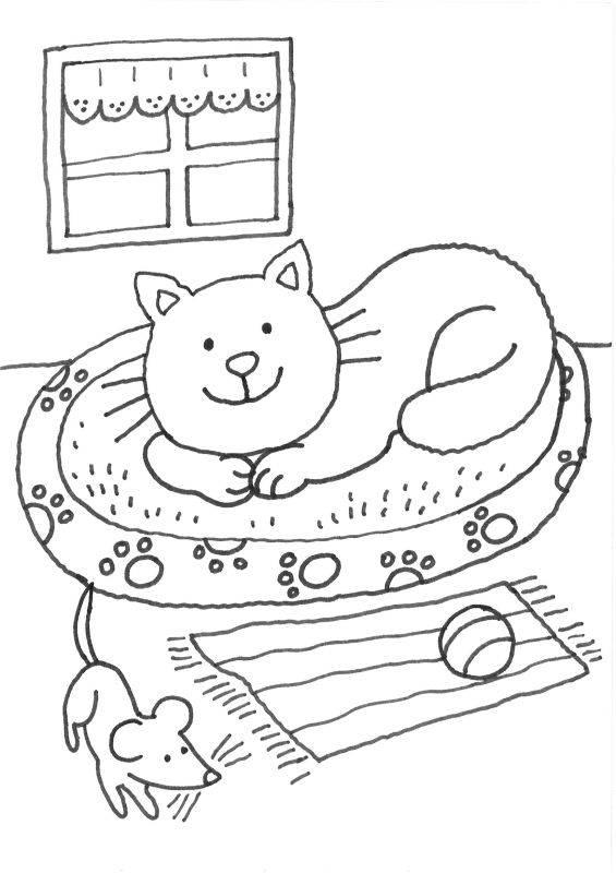 Ausmalbild Katzen Katze im Körbchen ausmalen kostenlos