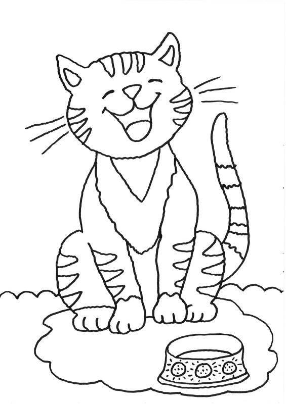 Kostenlose Malvorlage Katzen Katze mit Futternapf