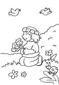 Kostenlose Malvorlage Kindergarten: Mdchen mit ...