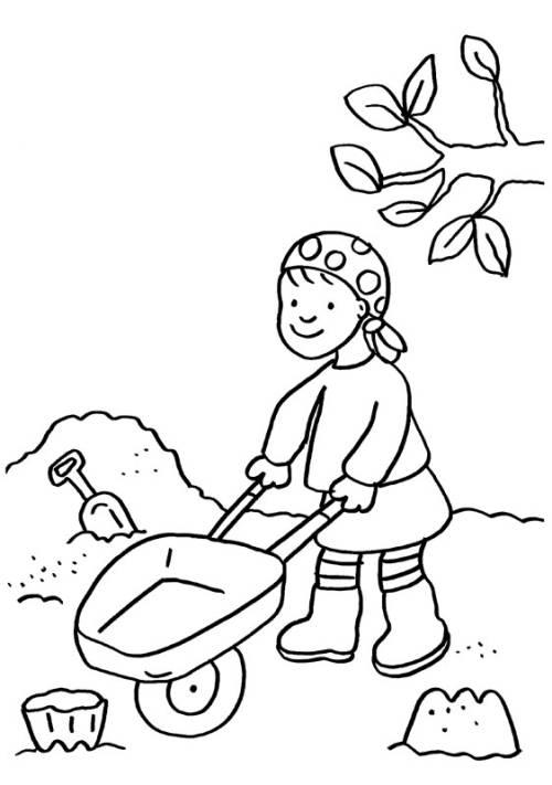 Kostenlose Malvorlage Kindergarten Im Sandkasten zum Ausmalen