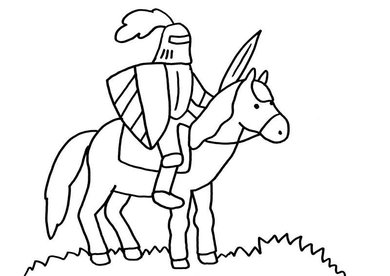 Kostenlose Malvorlage Ritter und Drachen Ritter auf