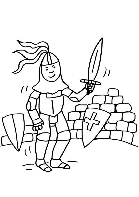Ausmalbild Ritter und Drachen Ritter mit Schwert zum