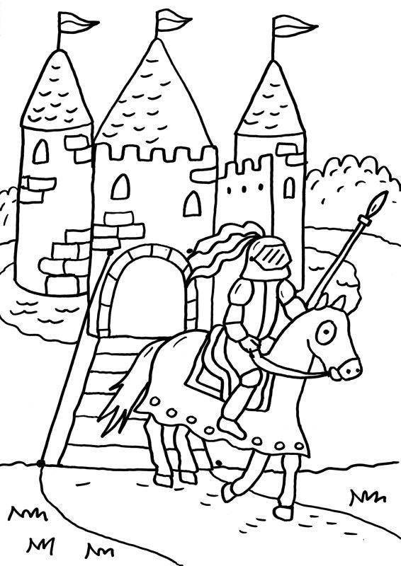 Kostenlose Malvorlage Ritter und Drachen Ritterburg zum