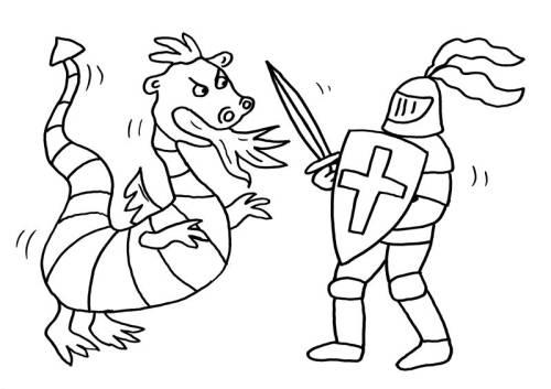 Kostenlose Malvorlage Ritter und Drachen Drache und
