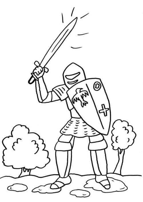 Kostenlose Malvorlage Ritter und Drachen Ritter mit