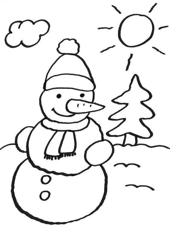 Kostenlose Malvorlage Schneemänner Schneemann ausmalen