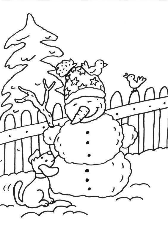 Kostenlose Malvorlage Schneemänner Schneemann und Hund