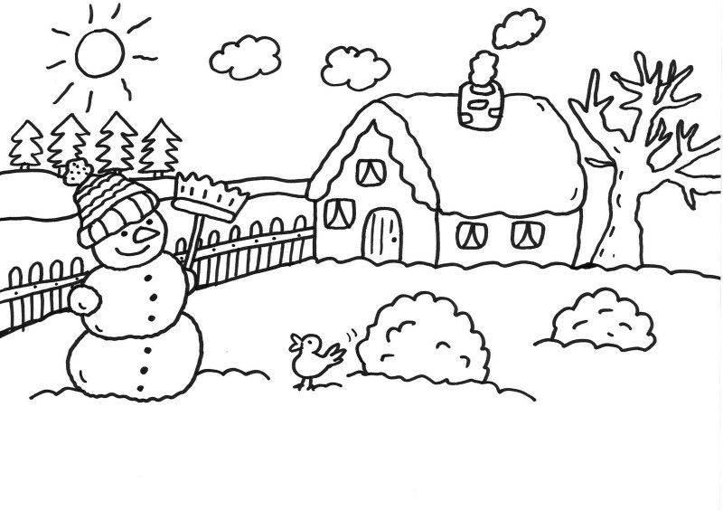 Ausmalbild Schneemänner Schneemann vor dem Haus ausmalen