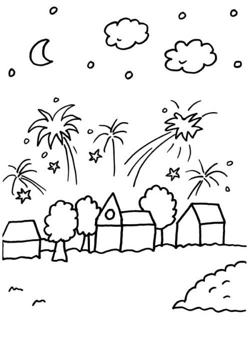 Kostenlose Malvorlage Silvester Silvester-Feuerwerk über