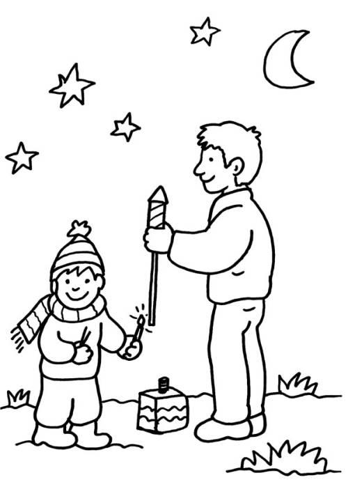 Kostenlose Malvorlage Silvester Vater und Sohn beim
