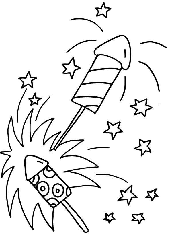 Kostenlose Malvorlage Silvester Silvester-Raketen zum