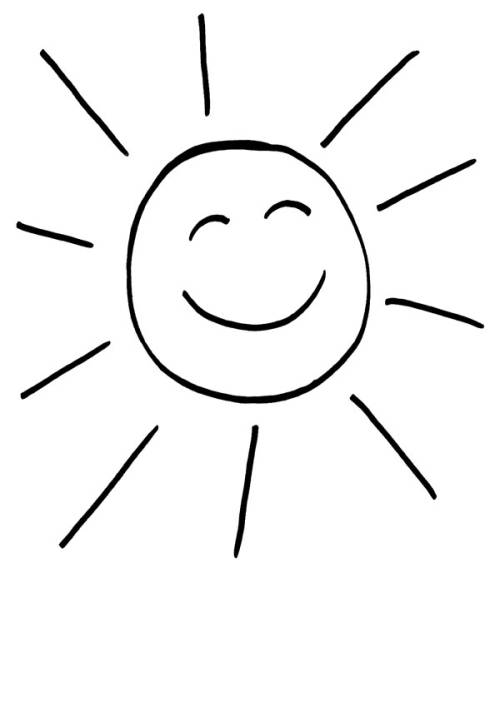 Kostenlose Malvorlage Sonne Lachende Sonne zum Ausmalen