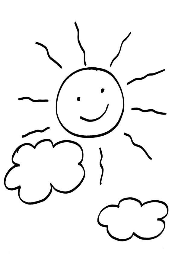 Kostenlose Malvorlage Sonne Sonne und Wolken zum Ausmalen
