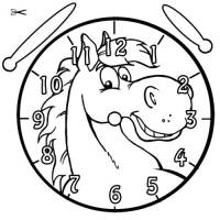 Kostenlose Malvorlage Uhrzeit lernen Ausmalbild Pferd zum ...
