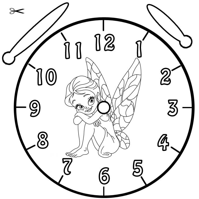 Kostenlose Malvorlage Uhrzeit lernen Ausmalbild Elfe zum