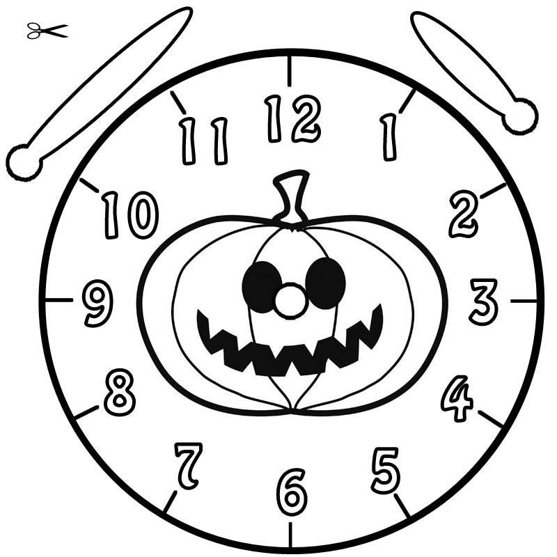 Kostenlose Malvorlage Uhrzeit lernen Ausmalbild Halloween