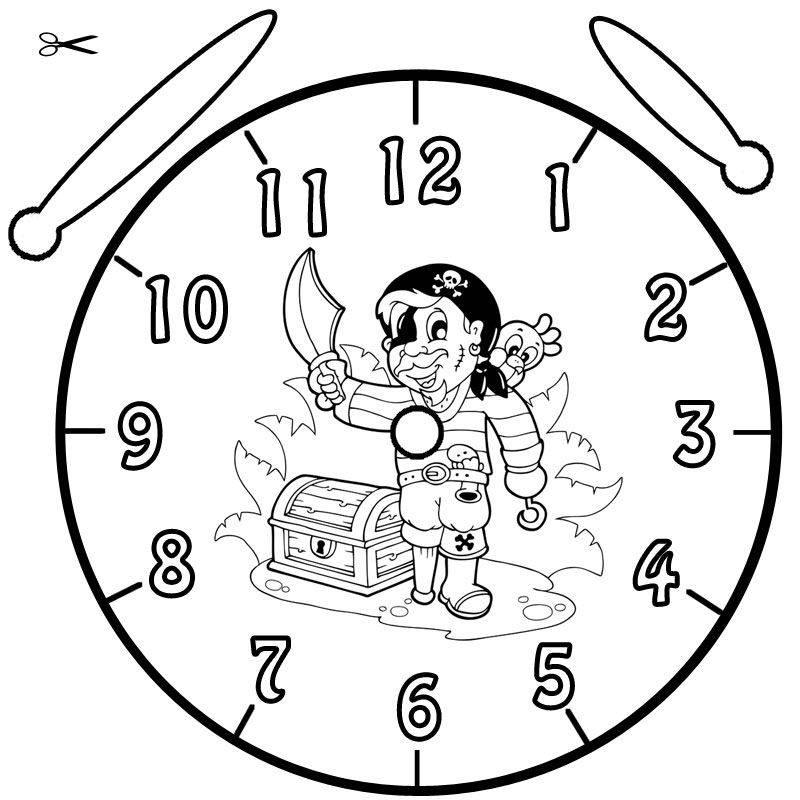 Kostenlose Malvorlage Uhrzeit lernen Ausmalbild Pirat zum