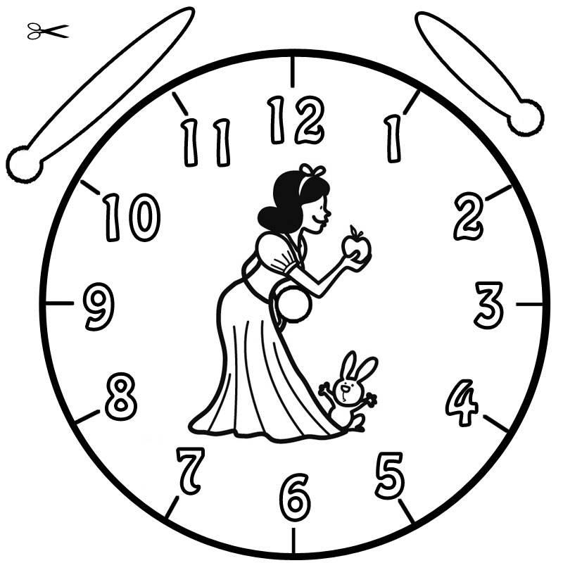 Kostenlose Malvorlage Uhrzeit lernen Ausmalbild