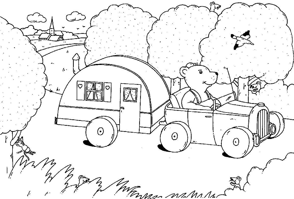 Ausmalbild Urlaub und Reisen Bär im Wohnwagen kostenlos