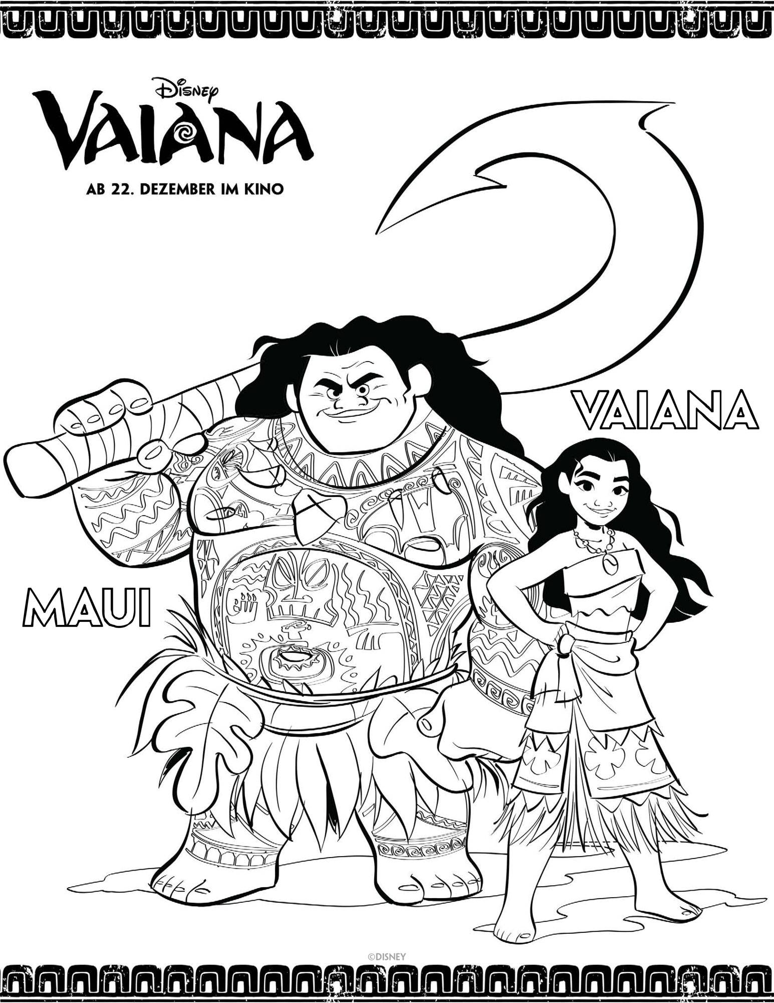 Ausmalbild Vaiana Vaiana und Maui ausmalen kostenlos
