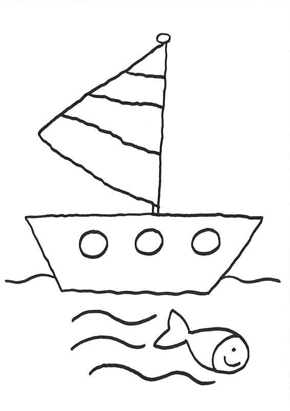 Ausmalbild Vatertag Ausflug mit Schiff kostenlos ausdrucken