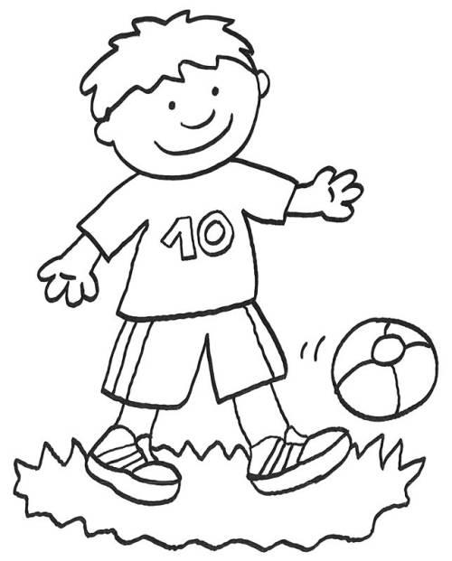 Kostenlose Malvorlage Vatertag Fuball spielen zum Ausmalen