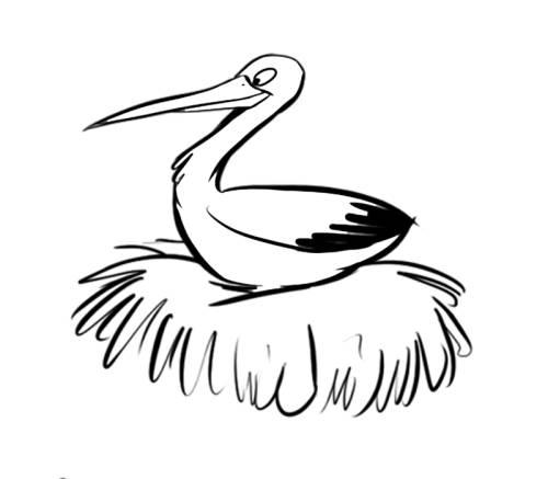 Kostenlose Malvorlage Vögel Storch in seinem Nest zum