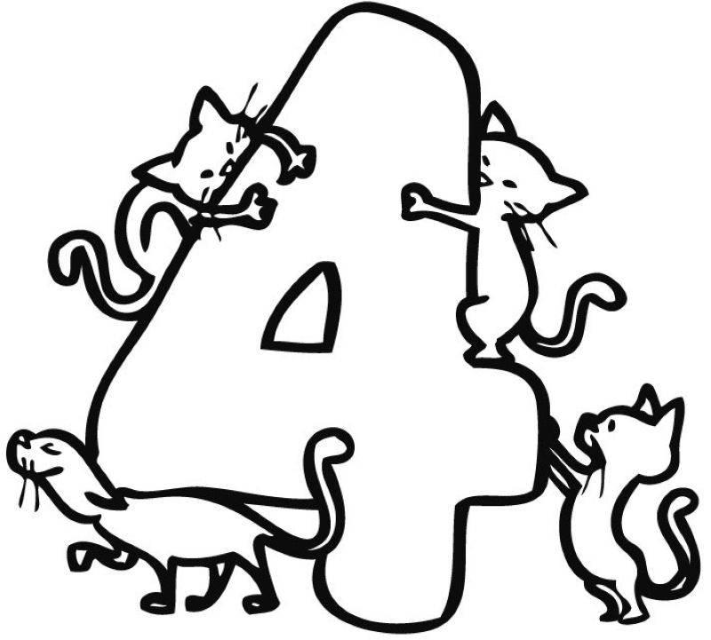 Kostenlose Malvorlage Zahlen Vier Katzen zum Ausmalen