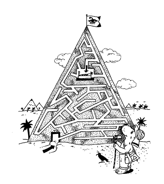 Ausmalbild Labyrinthe für Kinder Pyramide kostenlos