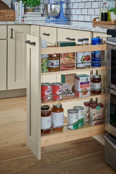 pull out spice rack schuler cabinetry