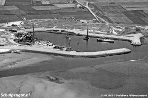 Aanleg van de veerhaven 't Horntje in 1963