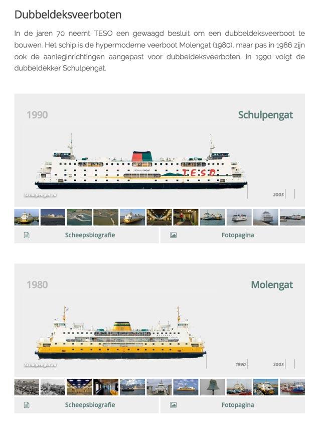 De gehele TESO-vloot van raderstoomboot tot dubbeldeksveerboot is op schaal weergegeven op de vlootpagina van Schulpengat.nl